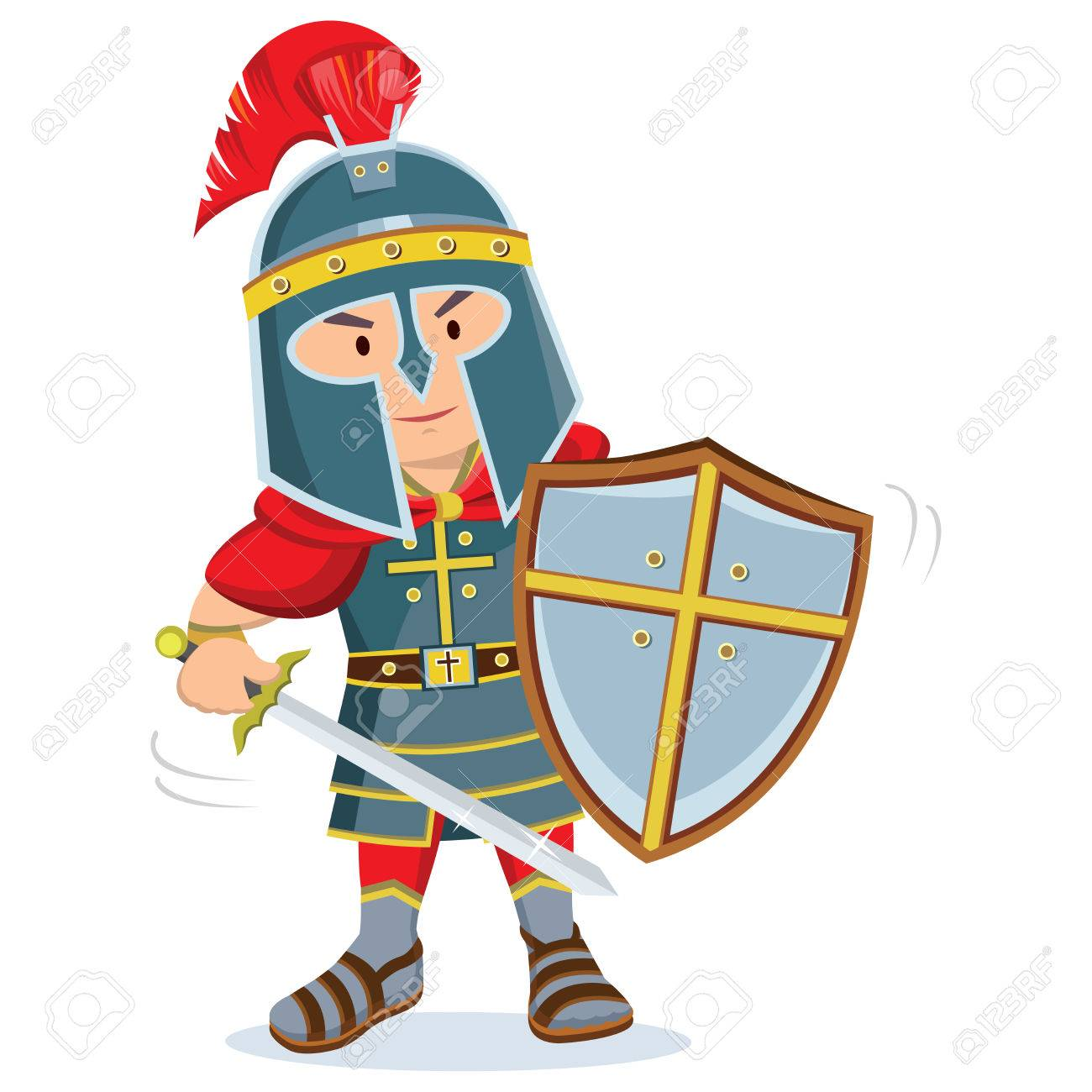 Knight. Warrior with armor and shield holding a sword..