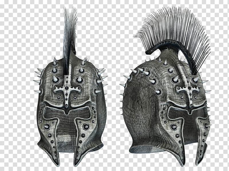 Fantasy Helmets , gray and black armor helmet illustration.