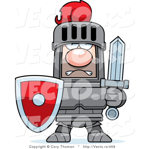 Vector of a Strong Red Armored Knight with Shield and Sword by.