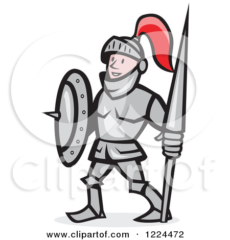 Clipart of a Happy Cartoon Knight in Armour, Holding a Lance and.