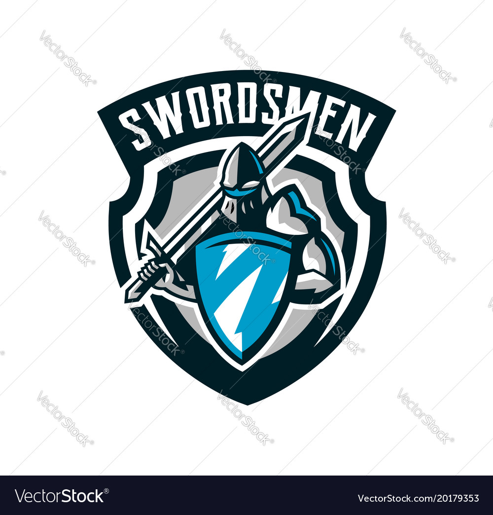 Colorful logo knight s emblem in iron armor a.
