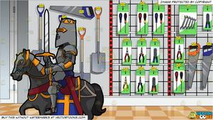 A Knight In Shining Armor and Aisle Rack Of A Hardware Shop Selling Tools.