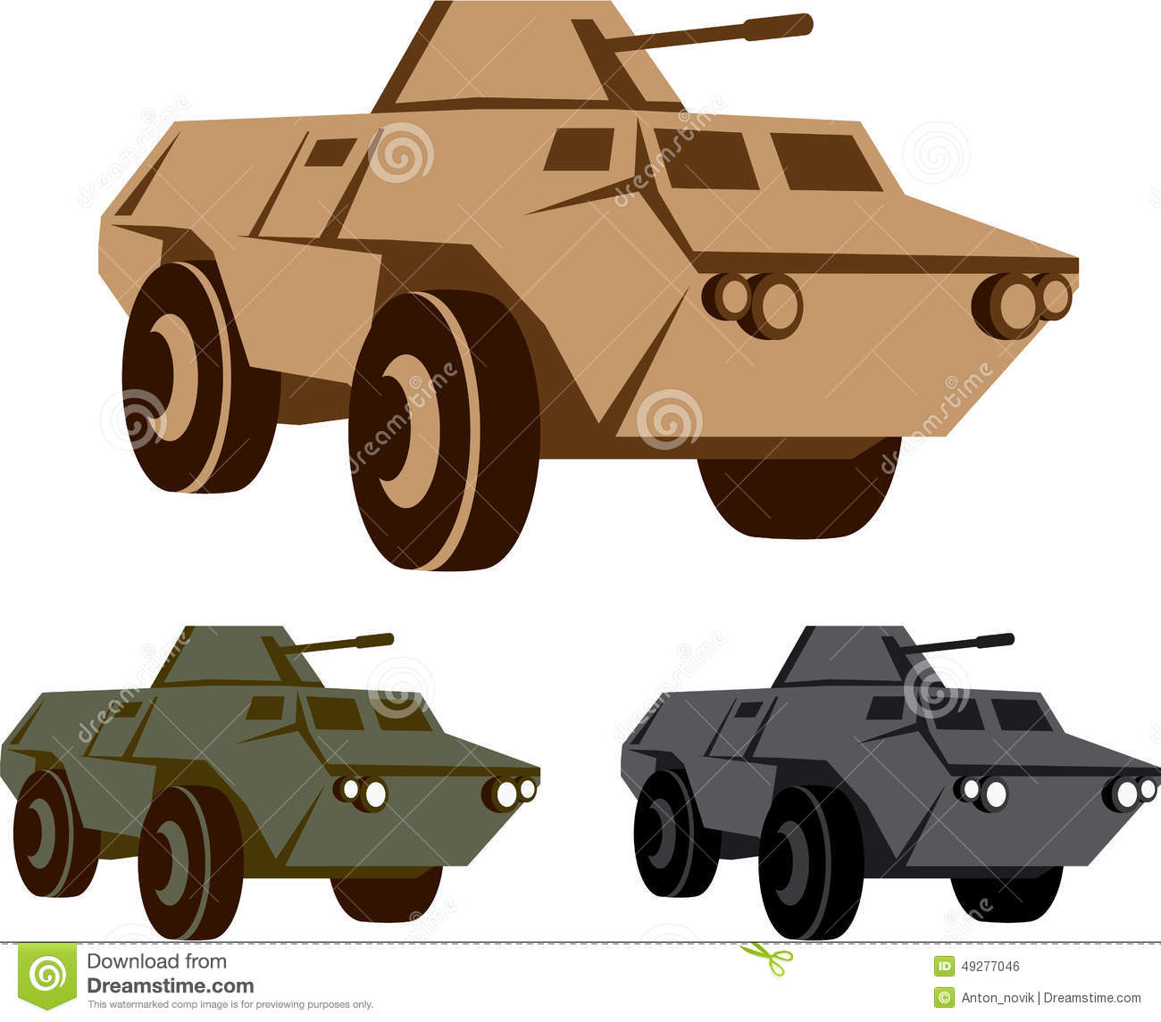APC Armored Personnel Carrier Stock Vector.