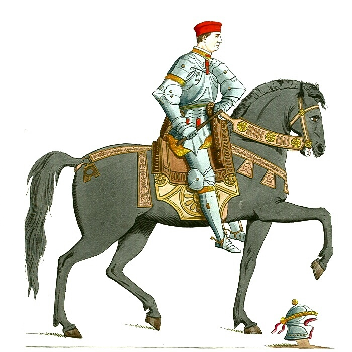 Armored Man On Horses Clipart.