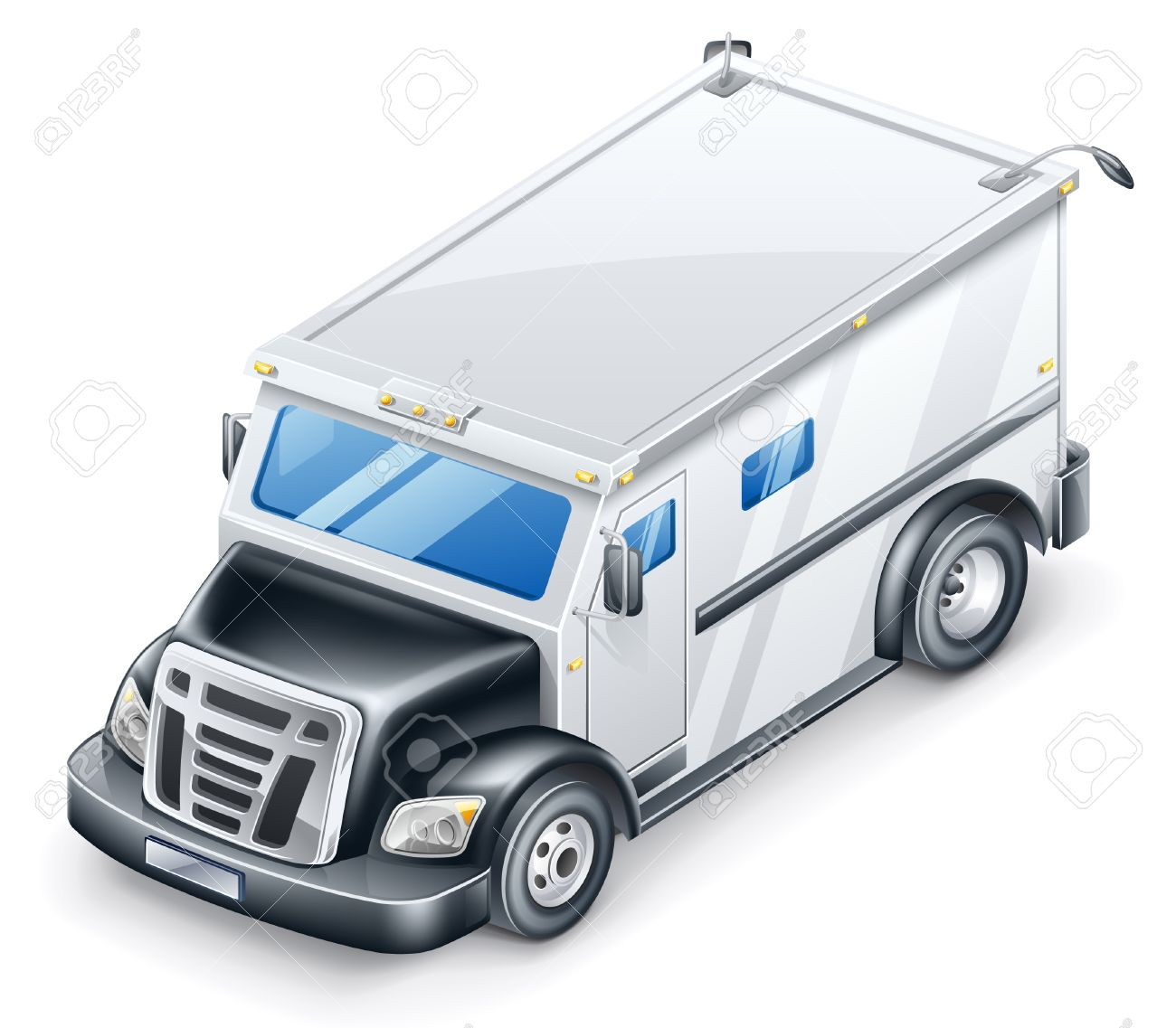 Vector Illustration Of Armored Truck On White Background. Royalty.