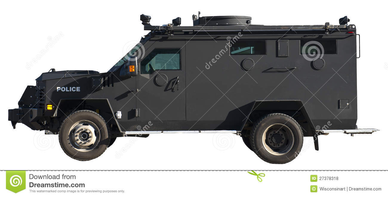 SWAT Team Armored Truck Vehicle Isolated Royalty Free Stock Photos.