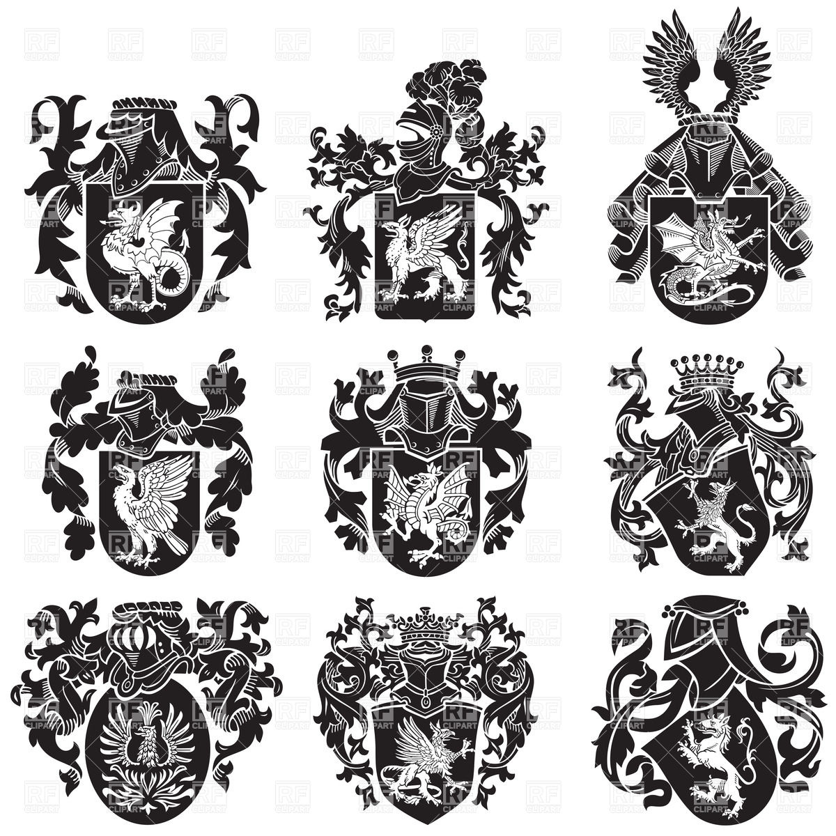 Medieval heraldic coat of arms with mythological animals Vector.