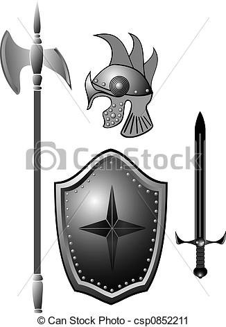 Clipart of Knightly armour board, sword, helmet..