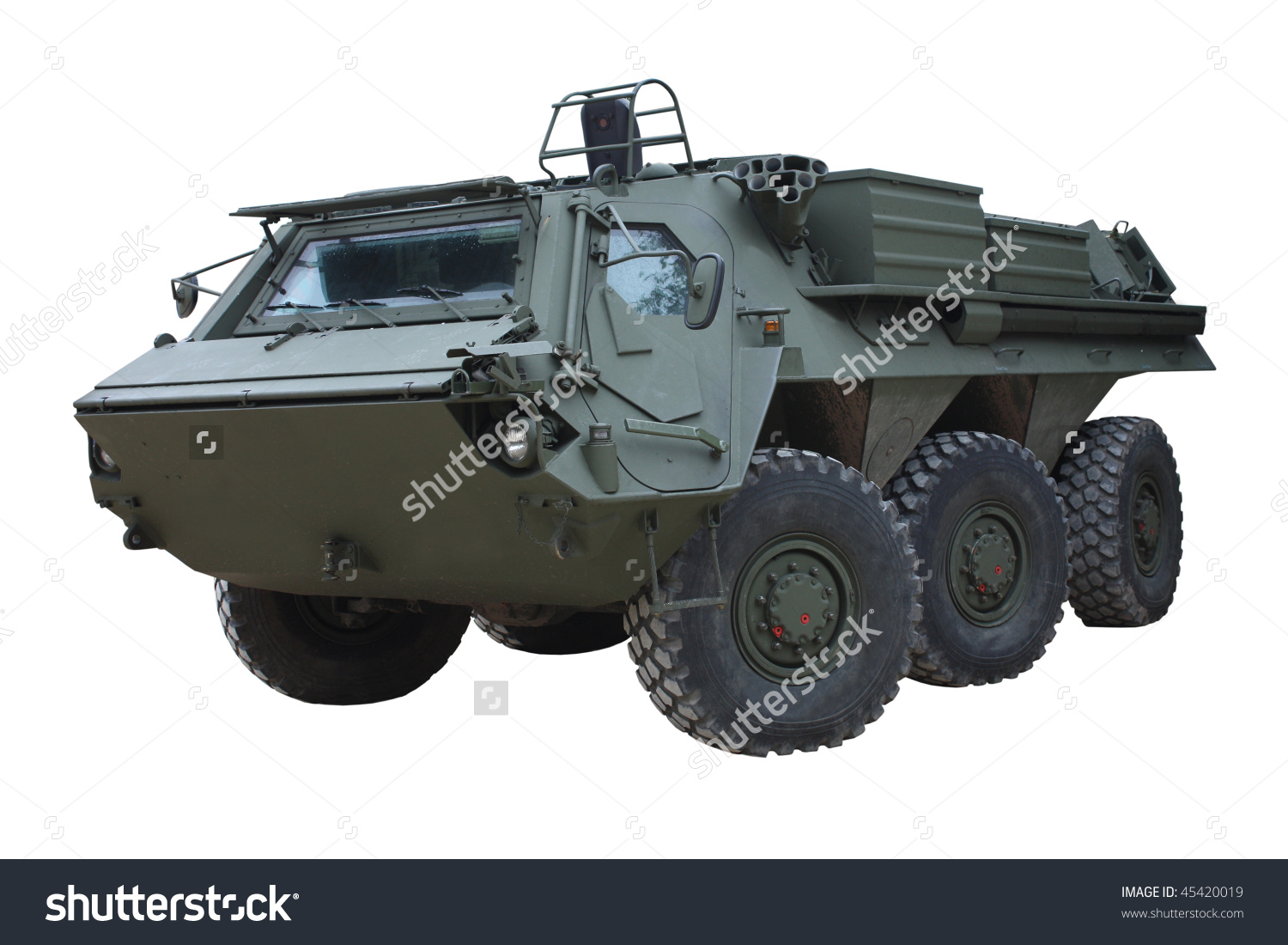 A Large Dark Green Military Armoured Vehicle. Stock Photo 45420019.