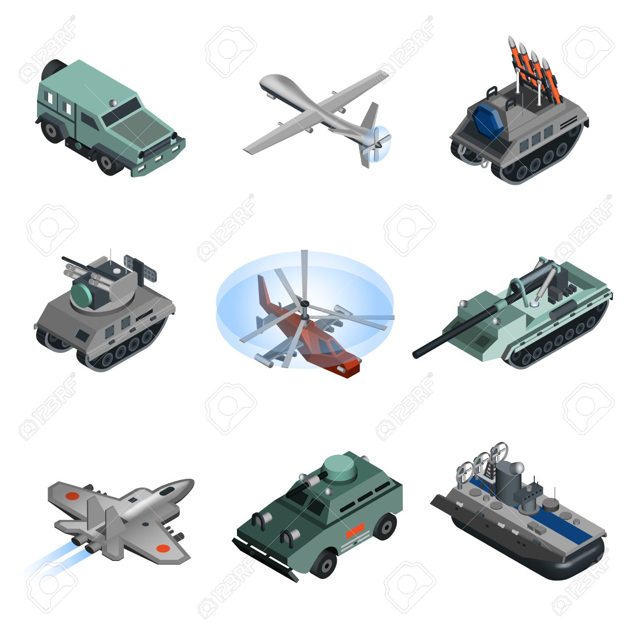 Military Equipment Isometric Set With Helicopter Armoured Vehicle.