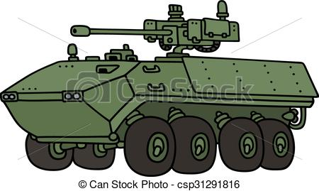 Vector Clip Art of Green wheeled armoured vehicle.