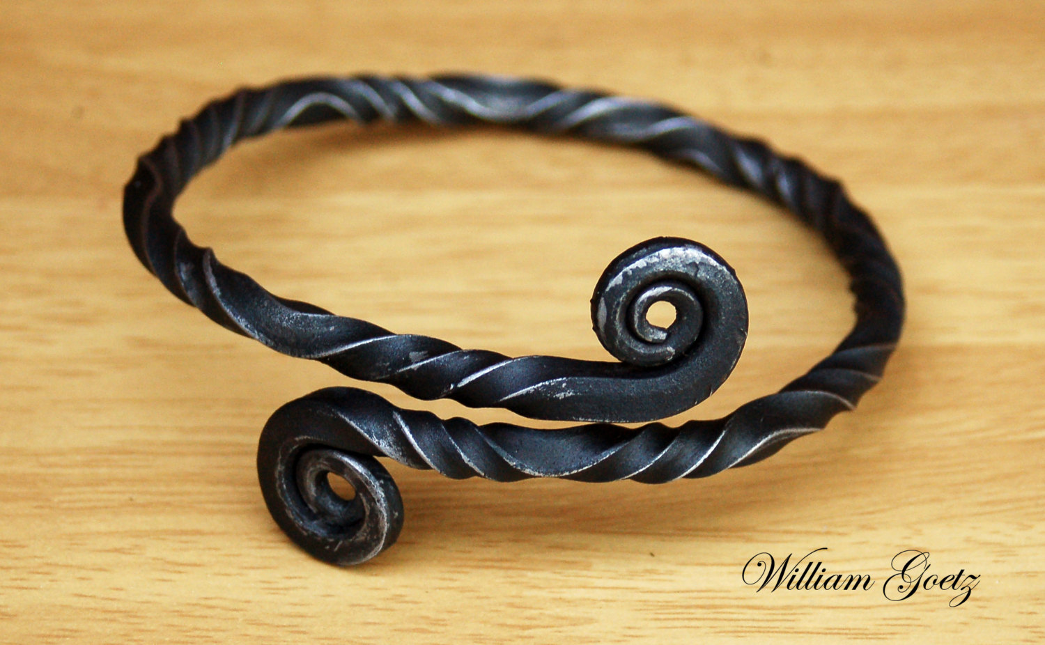 Hand Forged Twisted Iron Arm Ring Custom Order.
