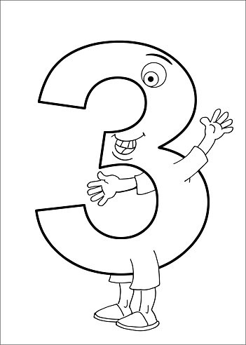 Number 3 character with arms and legs Clipart Image.