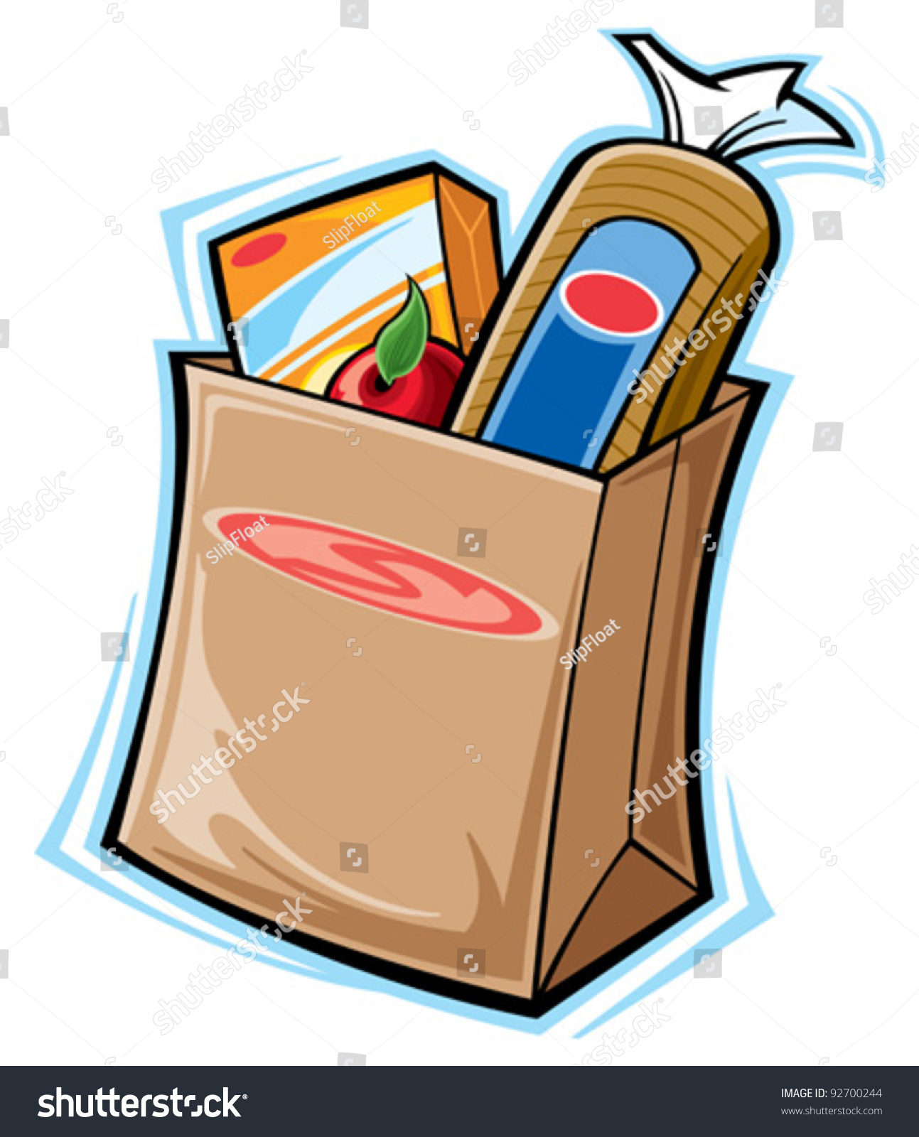 Cartoon Empty Grocery Bag Images.