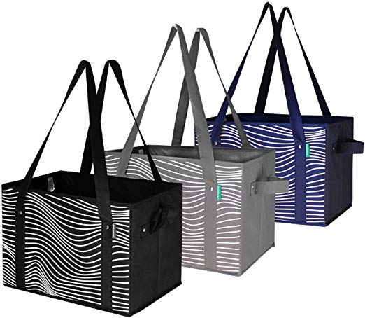 Reusable Grocery Bags Set Shopping Box with Reinforced Bottom Heavy Duty  Premium Collapsible Foldable with Long Handles Storage Boxes Eco Friendly.