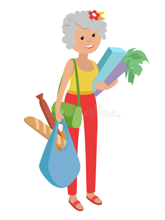 Woman carrying groceries stock vector. Illustration of green.