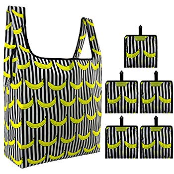 Fruit Reusable Grocery Bags Bulk 5 Pack Reusable Shopping Bags Large  Capacity Can Hold 50Lbs Waterproof Foldable Bags with Attached Pouch Banana.
