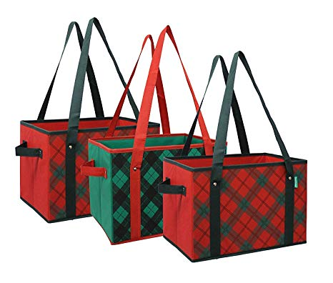 Earthwise Deluxe Collapsible Reusable Shopping Box Grocery Bag Set with  Reinforced Bottom Plaid Holiday Xmas Christmas Design Storage Boxes Bins  Cubes.