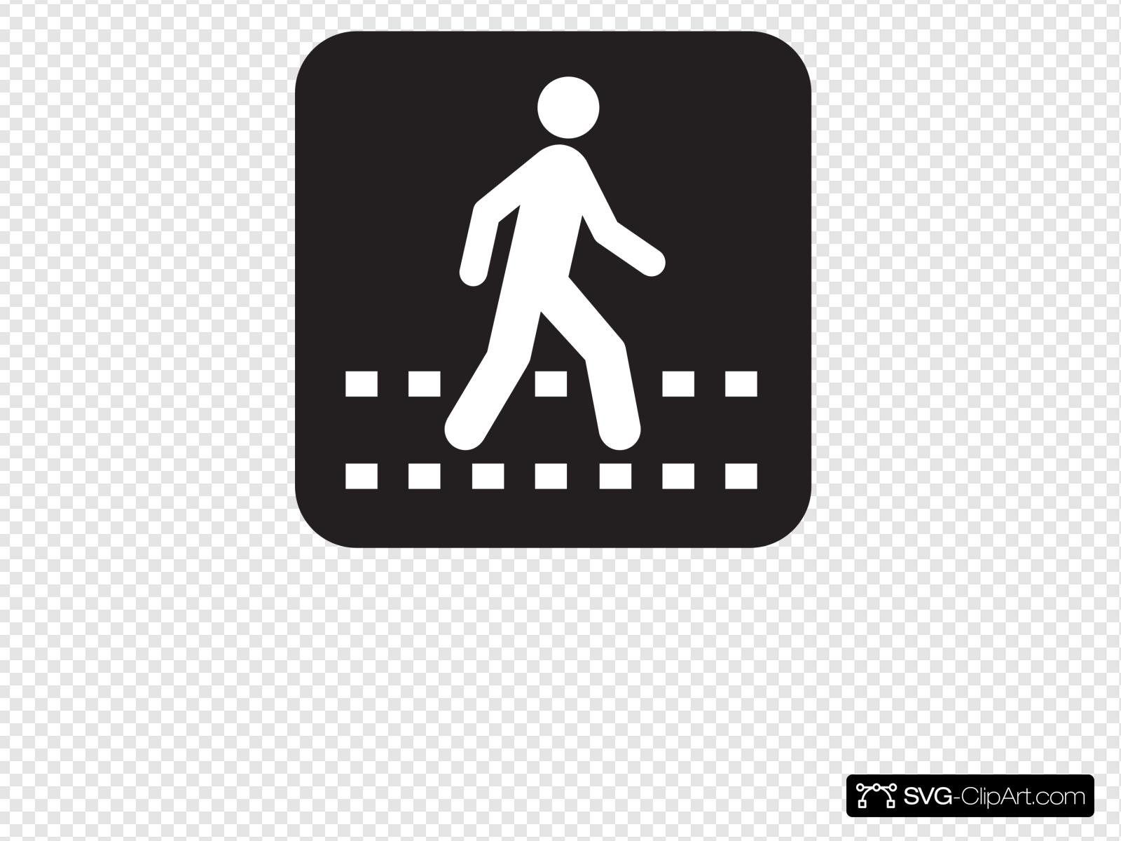 Pedestrian Crossing Black Clip art, Icon and SVG.