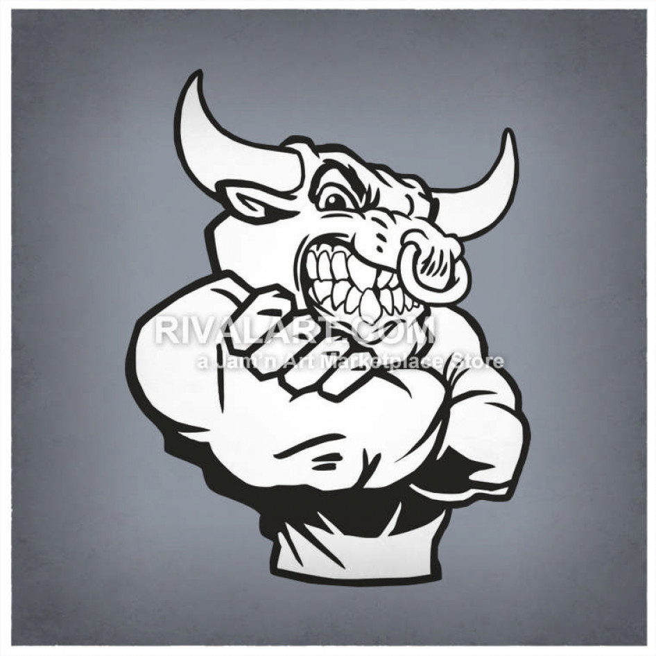 Bulls Mascot With Arms Crossed Mean Nose Ring Graphic Black.