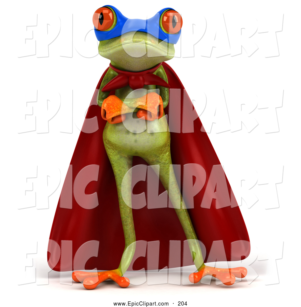 Clip Art of a 3d Green Tree Frog Super Hero Posing with His.