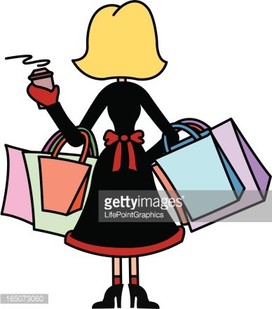 Woman Shopping with Arms Full of Bags Clipart Image.