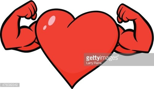 Heart with Strong Arms Clipart Image.