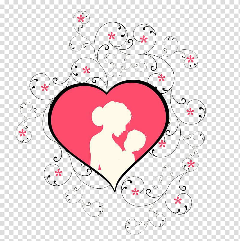 Pink heart mother\'s day mother\'s arms child element.
