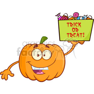 Royalty Free RF Clipart Illustration Funny Halloween Jackolantern Pumpkin  Cartoon Mascot Character With Open Arms For Hugging And Speech Bubble With.