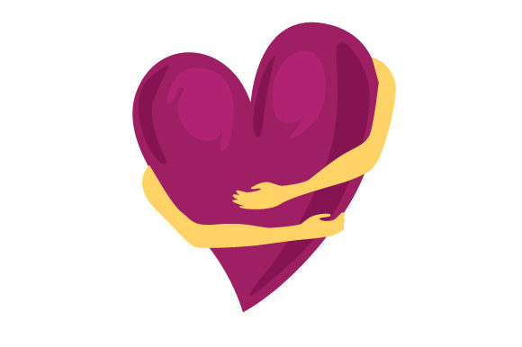 Arms Hugging a Heart in Mauve.