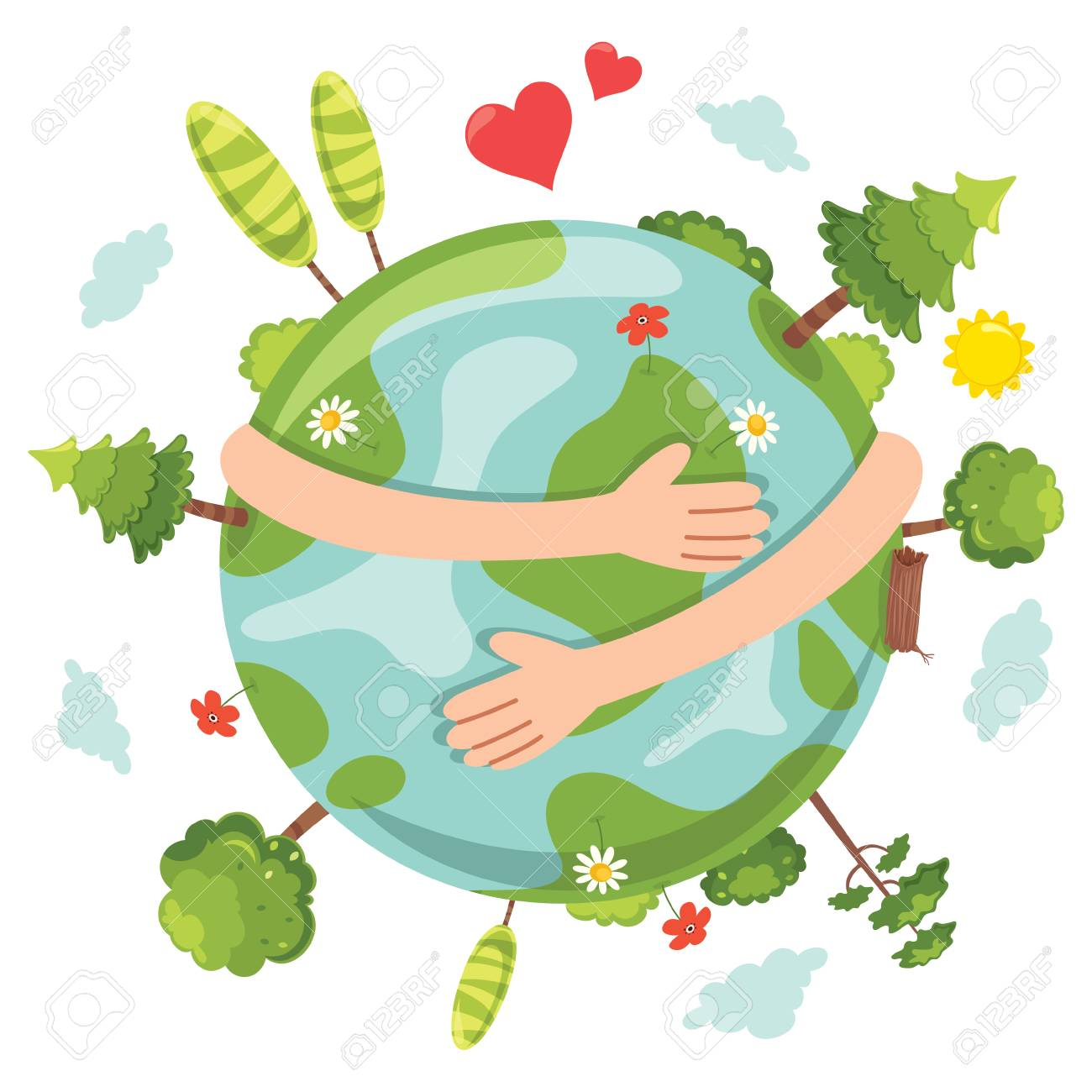 Vector Illustration Of Earth Day with arms hugging earth and...