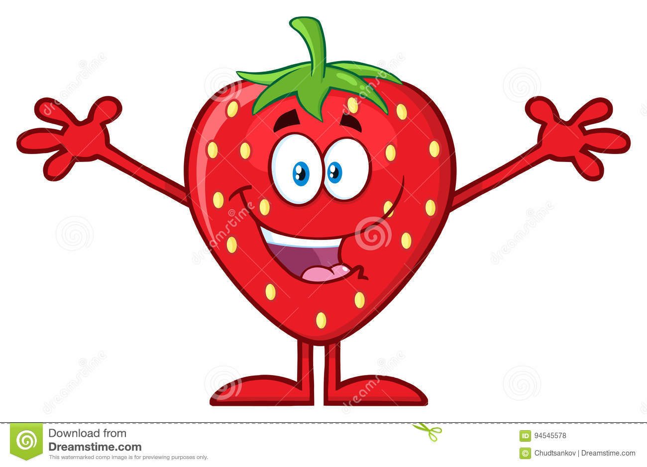 Happy Strawberry Fruit Cartoon Character With Open Arms For Hugging.