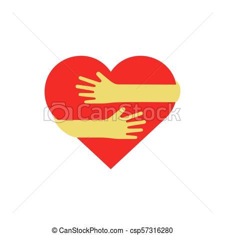 Hands hugging red heart.
