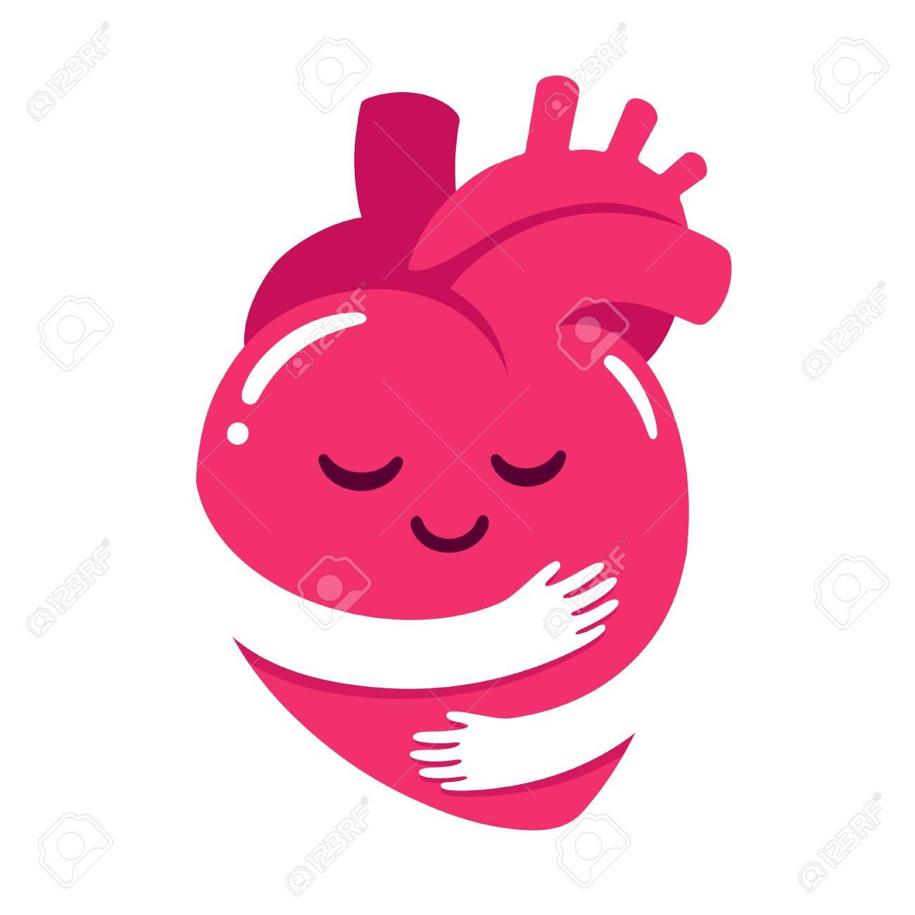 Love yourself, cute cartoon heart character hug. Realistic anatomic...