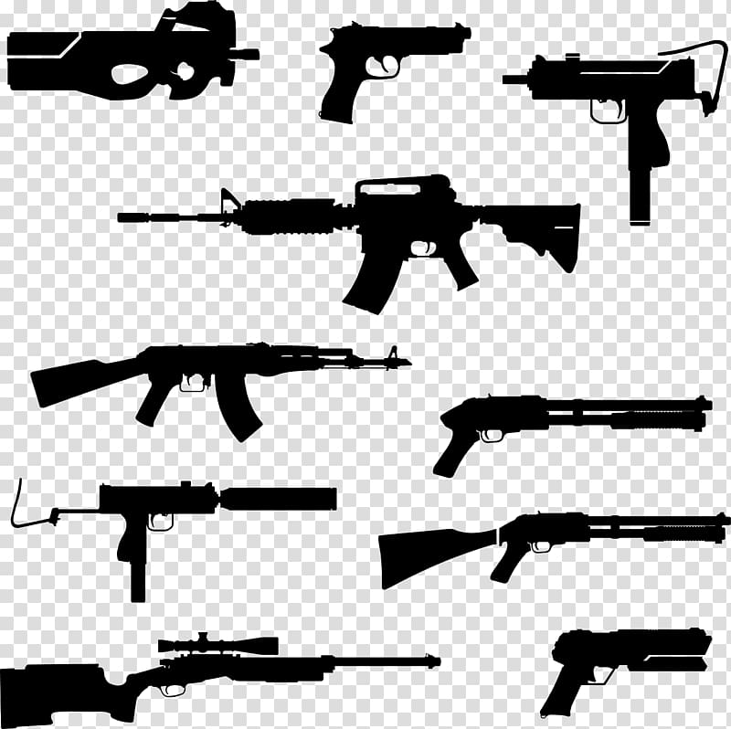 Firearm Weapon Silhouette Rifle, Silhouette of military.