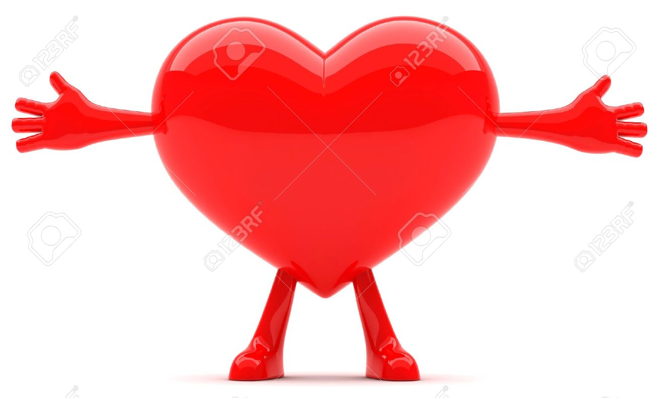 Heart Shaped Mascot With Arms Open Wide Stock Photo, Picture And.