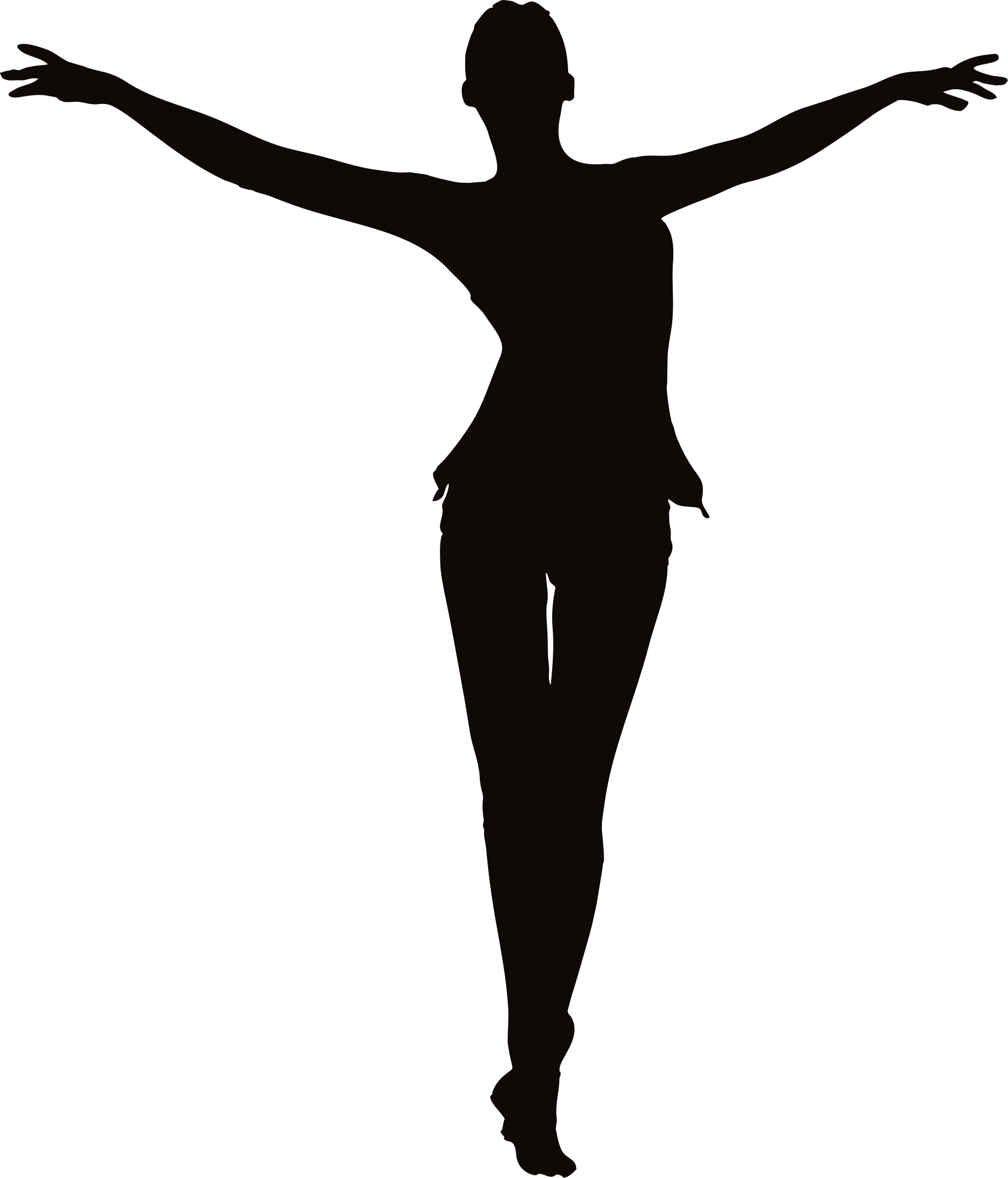 female figure arms up.