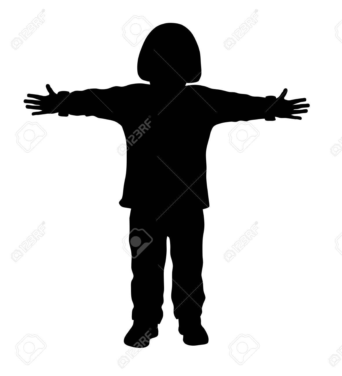 Vector illustration of little kid with outstretched arms.