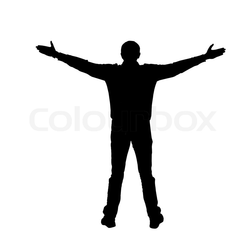 Silhouette Of A Man With Spread Arms On A White Background.