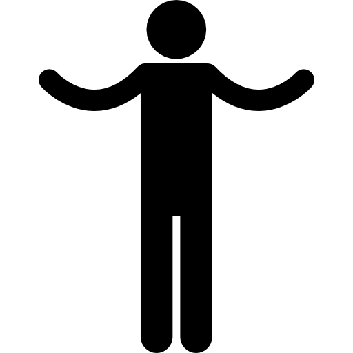 Silhouette with spread arms.
