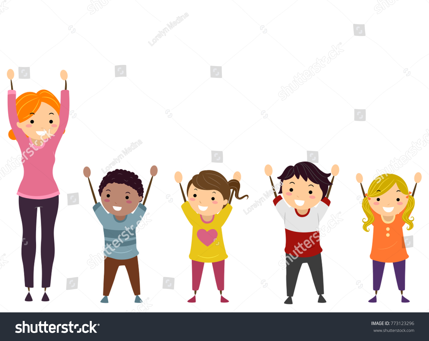 Illustration Stickman Kids Their Teacher Arms Stock Vector (Royalty.