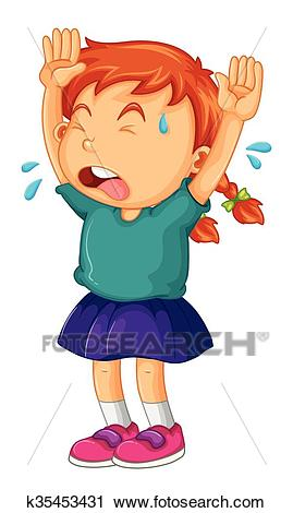 Little girl crying with her arms up Clipart.