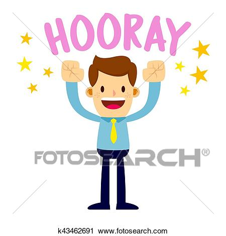 Businessman Lifting His Arms Up And Shout Hooray Clipart.