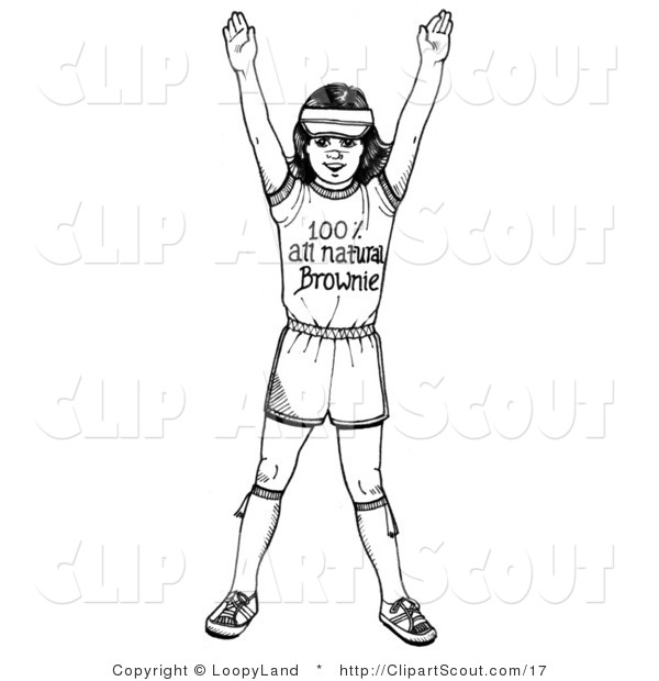 Clipart of a Black and White Girl Scout Brownie Holding Her Arms up.