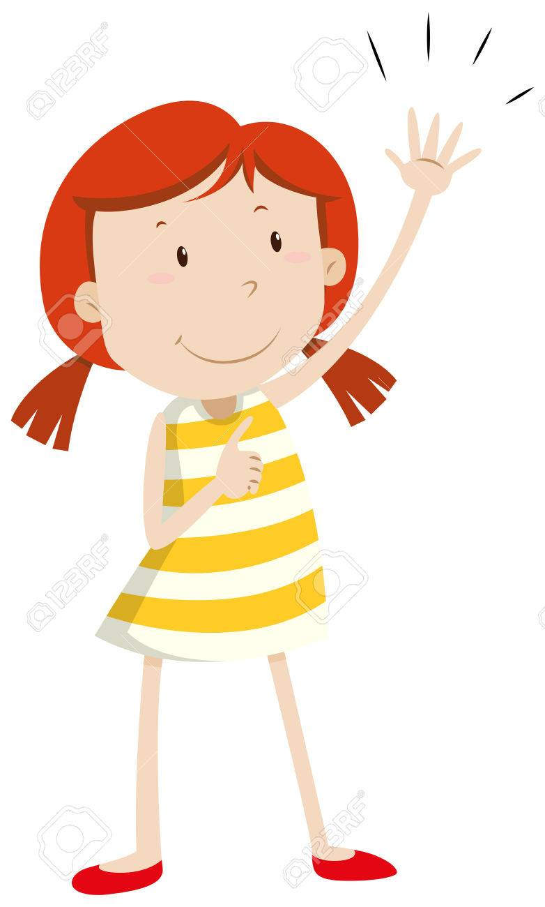 Girl having left arm up illustration.