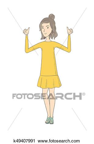Young hippie woman standing with raised arms up. Clipart.