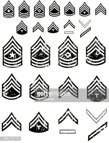 US Army Enlistment Symbols or Arm Patch Ranks Clipart Image.
