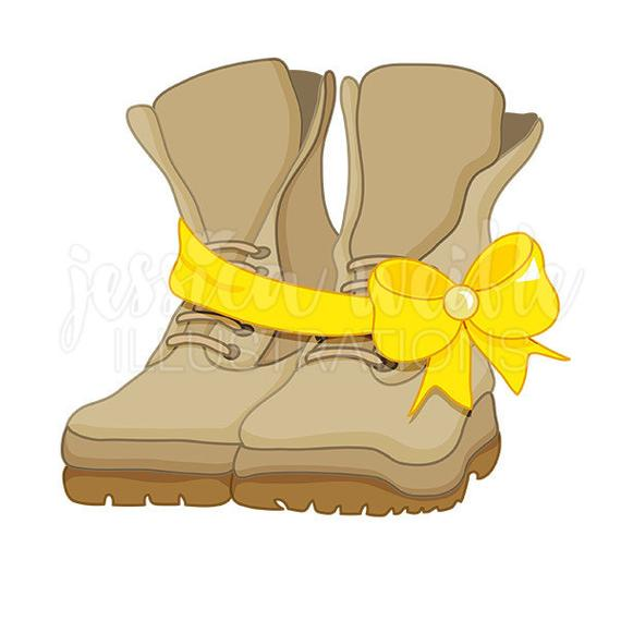 Solider Boots Digital Clipart, Military Clip art, Memorial Graphics,  Solider Clipart, Army Boots, Yellow Ribbon Boots Illustration, #198.