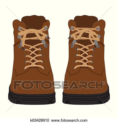 Brown army military boots isolated on white background, combat American  military boots Clipart.