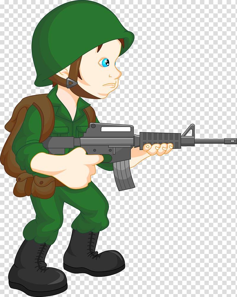 Soldier holding assault rifle illustration, Soldier Cartoon.